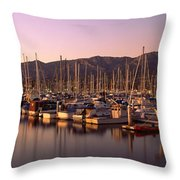 Boats Moored At A Harbor, Stearns Pier Throw Pillow