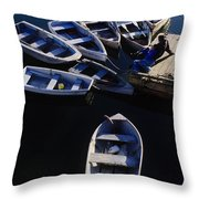 Boats Moored At Dock Throw Pillow
