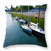 Boats Moving Into Chittenden Locks Seattle Throw Pillow