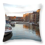 Boats Of Amsterdam Throw Pillow