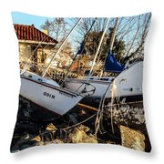 Boats Of Sandy Throw Pillow