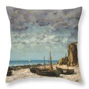 Boats On A Beach, Etretat Throw Pillow