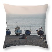 Boats On Beach Throw Pillow