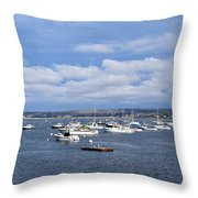 Boats On Blue Water Throw Pillow