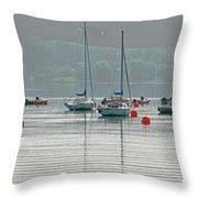 Boats On Carsington Water Throw Pillow