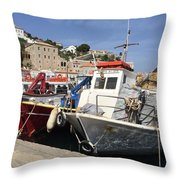 Boats On Hydra Throw Pillow