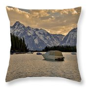 Boats On Jackson Lake At Sunset Throw Pillow