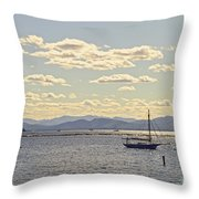 Boats On Lake Champlain Vermont Throw Pillow
