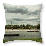 Boats On River Loire - France Throw Pillow