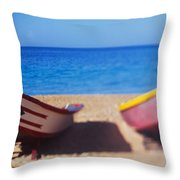 Boats On The Beach, Aguadilla, Puerto Throw Pillow