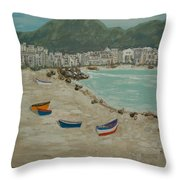 Boats On The Beach In Spain Throw Pillow