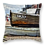 Boats On The Beach Throw Pillow