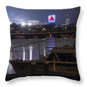 Boats On The Charles River Citgo Sign Boston Massachusetts Throw Pillow