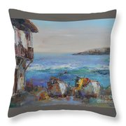 Boats On The Cost Throw Pillow