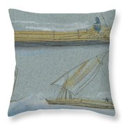 Boats On The Nile Throw Pillow