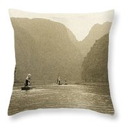 Boats On The River Tam Coc No1 Throw Pillow