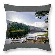 Boats On The Shore. Throw Pillow