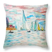 Boats On Water Monet  Throw Pillow