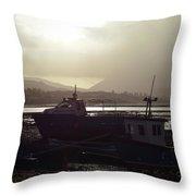 Boats, Portree, Isle Of Skye Throw Pillow