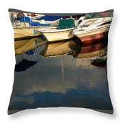 Boats Reflected Throw Pillow