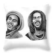 Bob And Bob Marley Throw Pillow