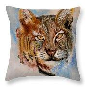 Bob Cat Throw Pillow by Jean Ann Curry Hess