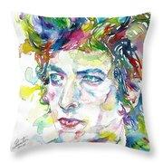 Bob Dylan - Watercolor Portrait.19 Throw Pillow