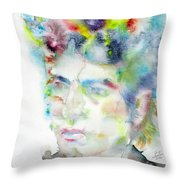 Bob Dylan - Watercolor Portrait.4 Throw Pillow