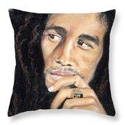 Bob Marley Throw Pillow by Ashley Kujan