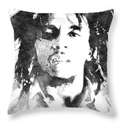 Bob Marley Bw Portrait Throw Pillow