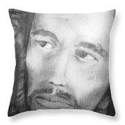 Bob Marley Pencil Portrait Throw Pillow