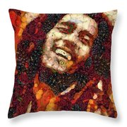 Bob Marley Vegged Out Throw Pillow