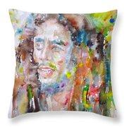 Bob Marley - Watercolor Portrait.17 Throw Pillow