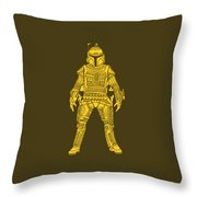 Boba Fett - Star Wars Art, Yellow Throw Pillow