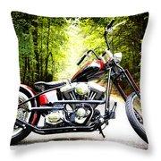 Bobber Harley Davidson Custom Motorcycle Throw Pillow