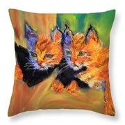 Bobcat Kittens 1 Throw Pillow
