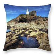 Bob's Cave At Mumbles Lighthouse Throw Pillow