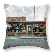 Bobs Downtown Diner Front Door Throw Pillow