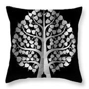 Bodhi Tree_iv_gold05_greyscale Throw Pillow