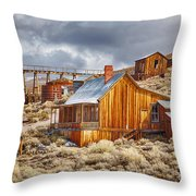 Bodie Stamp Mill, Sunrise With A Dusting Of Snow Throw Pillow