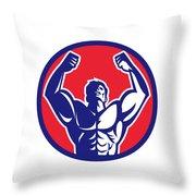 Body Builder Flexing Muscles Circle Retro Throw Pillow