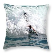 Body Surfing The Ocean Waves Throw Pillow