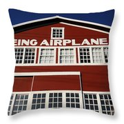 Boeing Airplane Hanger Number One Throw Pillow