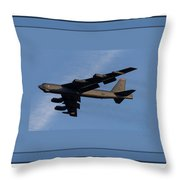Boeing B-52 Stratofortress Taking Off From Tinker Air Force Base Oklahoma With Quadruple Border Throw Pillow