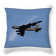 Boeing B-52 Stratofortress Taking Off From Tinker Air Force Base Oklahoma With Double Border Throw Pillow
