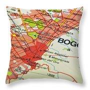 Bogota City Map. Throw Pillow