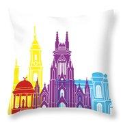 Bogota Skyline Pop Throw Pillow