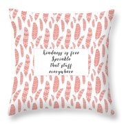 Bohemian Feathers Coral  Kindness Is Free Throw Pillow