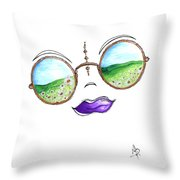 Boho Gypsy Daisy Field Sunglasses Reflection Design From The Aroon Melane 2014 Collection By Madart Throw Pillow