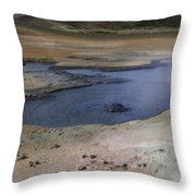 Boiling Mud Pool Iceland  Throw Pillow